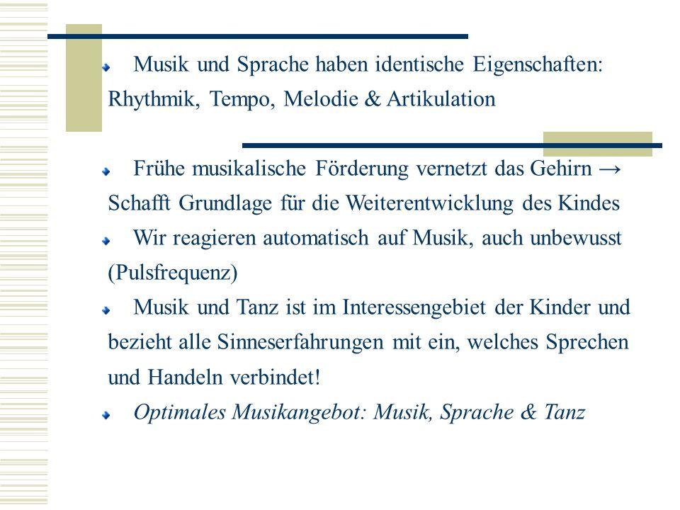 Musik und Sprache haben identische Eigenschaften: Rhythmik, Tempo, Melodie & Artikulation Frühe musikalische Förderung vernetzt das Gehirn Schafft Gru