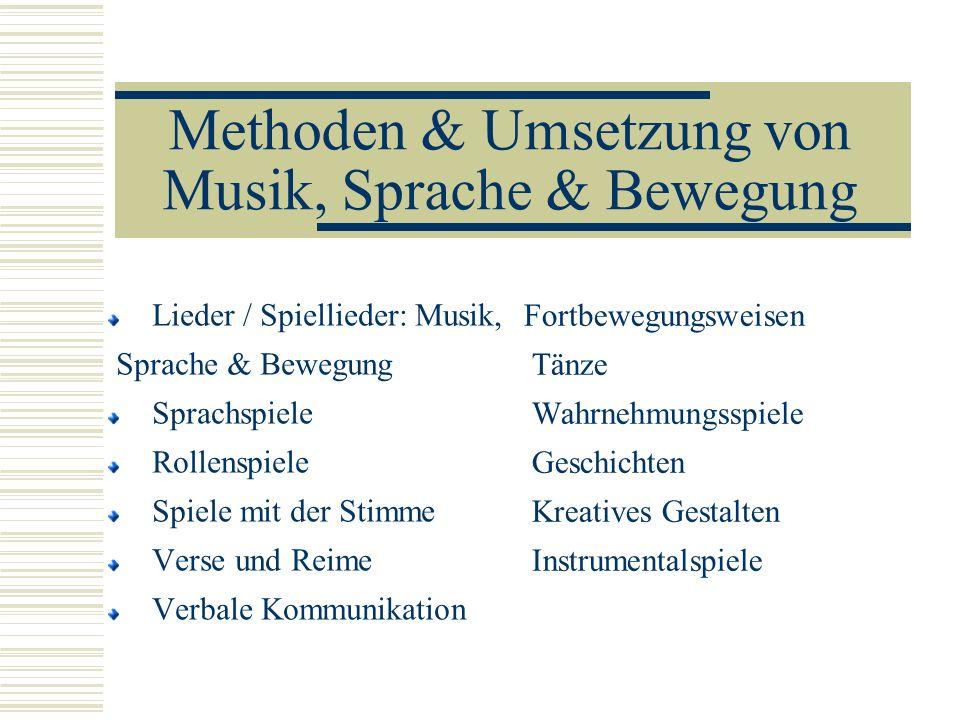 Methoden & Umsetzung von Musik, Sprache & Bewegung Lieder / Spiellieder: Musik, Sprache & Bewegung Sprachspiele Rollenspiele Spiele mit der Stimme Ver