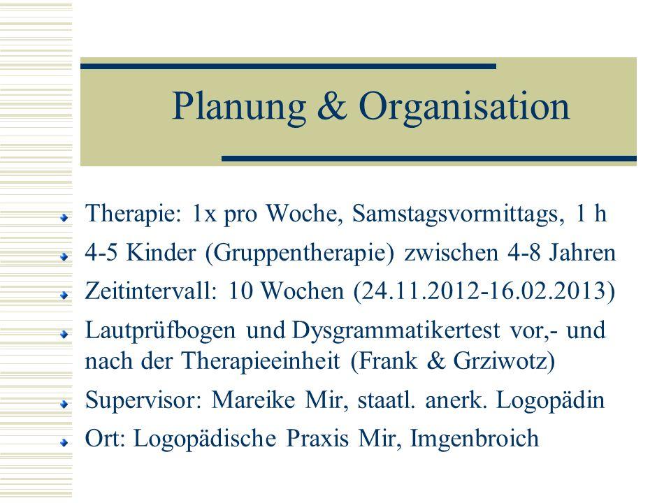 Planung & Organisation Therapie: 1x pro Woche, Samstagsvormittags, 1 h 4-5 Kinder (Gruppentherapie) zwischen 4-8 Jahren Zeitintervall: 10 Wochen (24.1