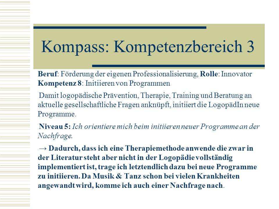 Kompass: Kompetenzbereich 3 Beruf: Förderung der eigenen Professionalisierung, Rolle: Innovator Kompetenz 8: Initiieren von Programmen Damit logopädis