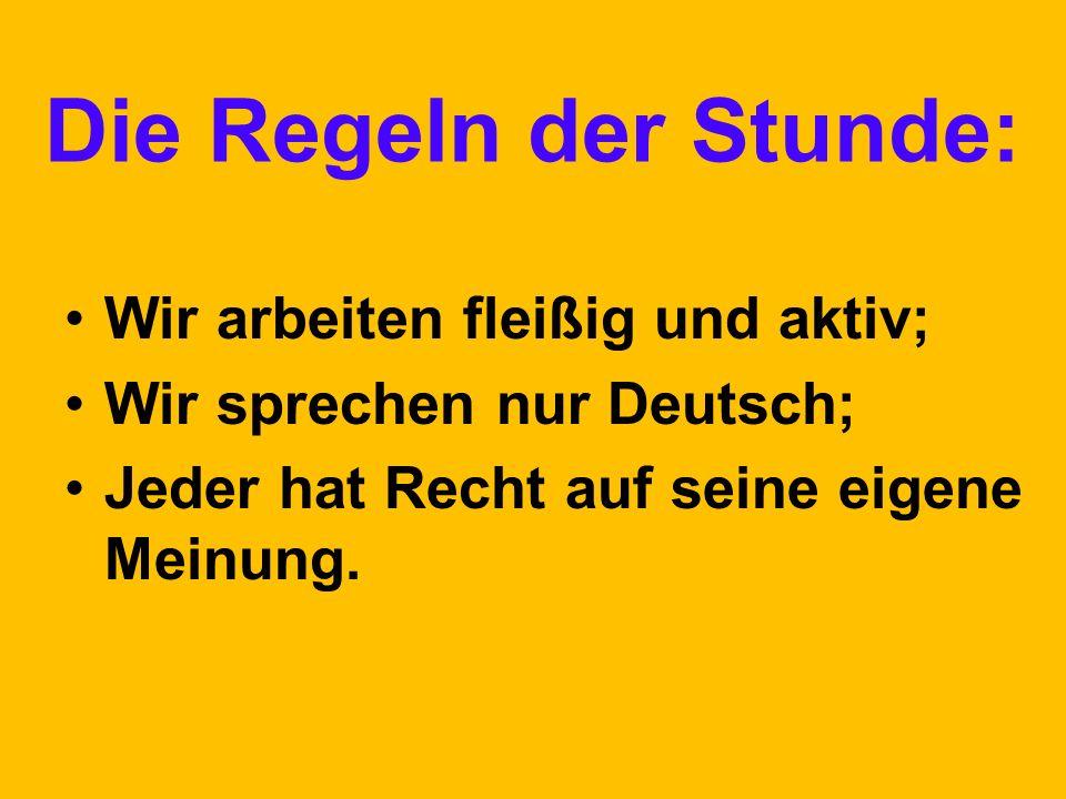 Die Regeln der Stunde: Wir arbeiten fleißig und aktiv; Wir sprechen nur Deutsch; Jeder hat Recht auf seine eigene Meinung.