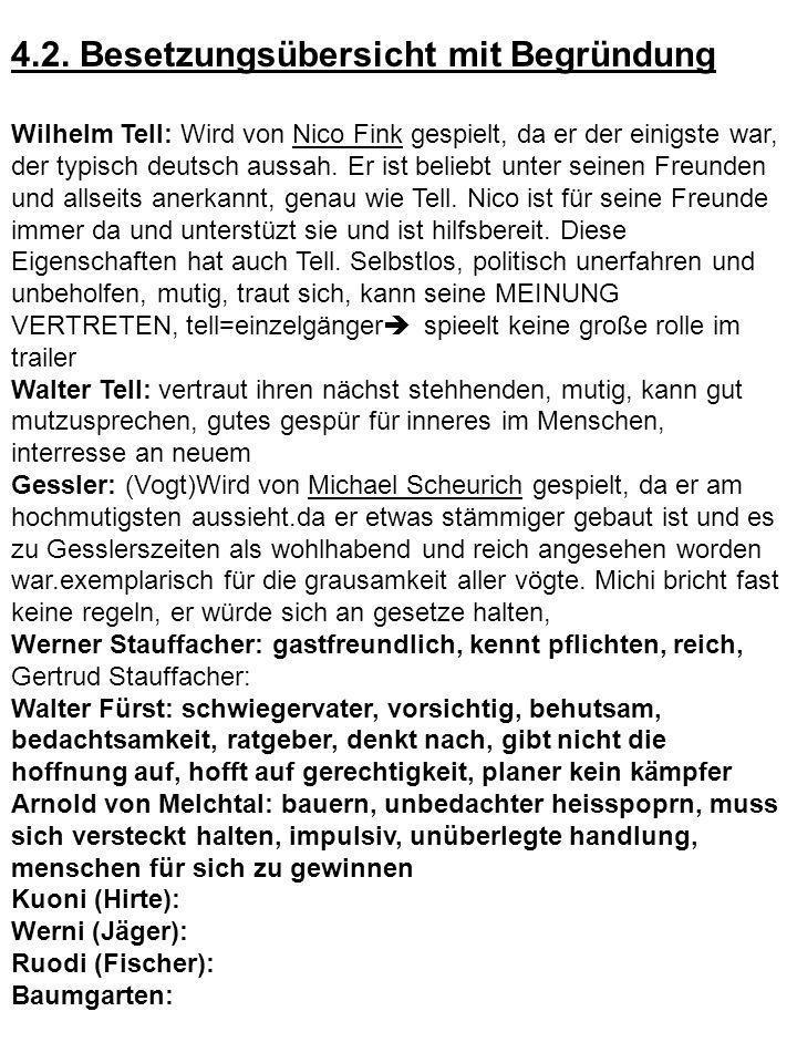 4.2. Besetzungsübersicht mit Begründung Wilhelm Tell: Wird von Nico Fink gespielt, da er der einigste war, der typisch deutsch aussah. Er ist beliebt