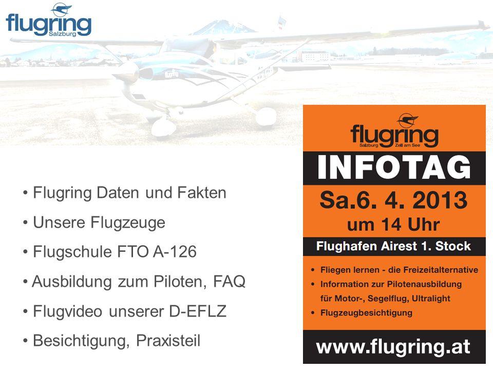 Flugring Daten und Fakten Unsere Flugzeuge Flugschule FTO A-126 Ausbildung zum Piloten, FAQ Flugvideo unserer D-EFLZ Besichtigung, Praxisteil
