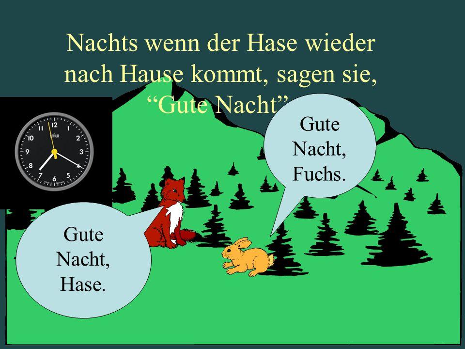 Nachts wenn der Hase wieder nach Hause kommt, sagen sie, Gute Nacht. Gute Nacht, Fuchs. Gute Nacht, Hase.