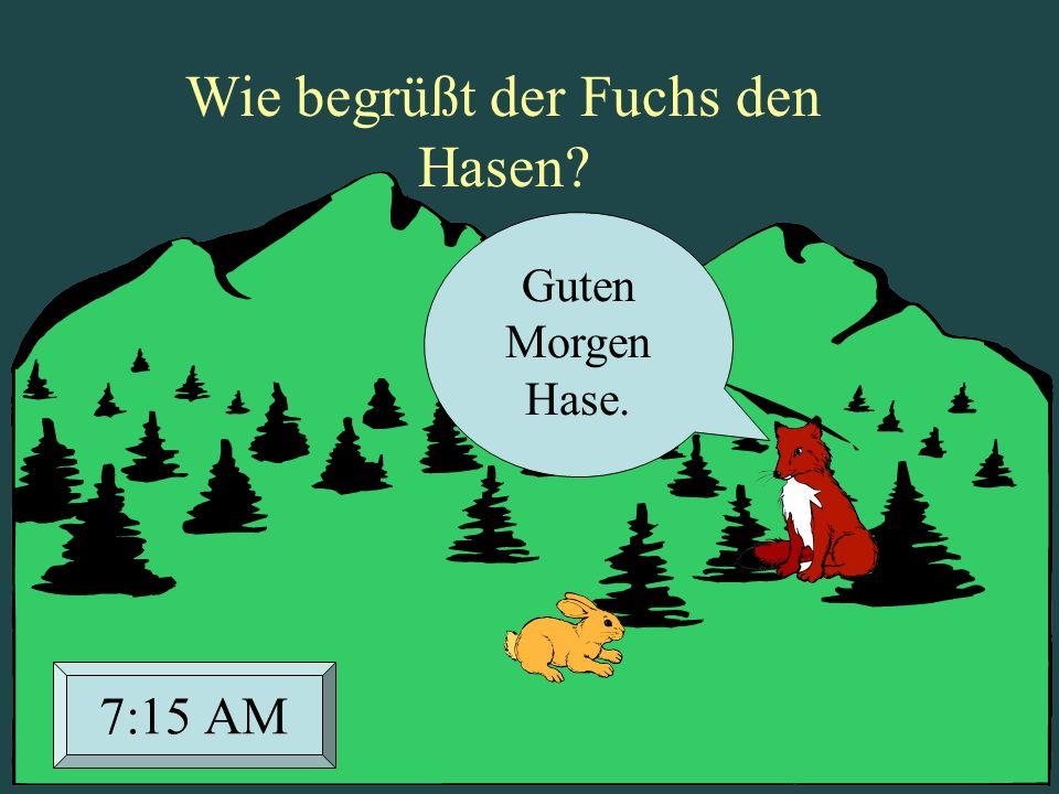 Wie begrüßt der Fuchs den Hasen? Guten Morgen Hase. 7:15 AM