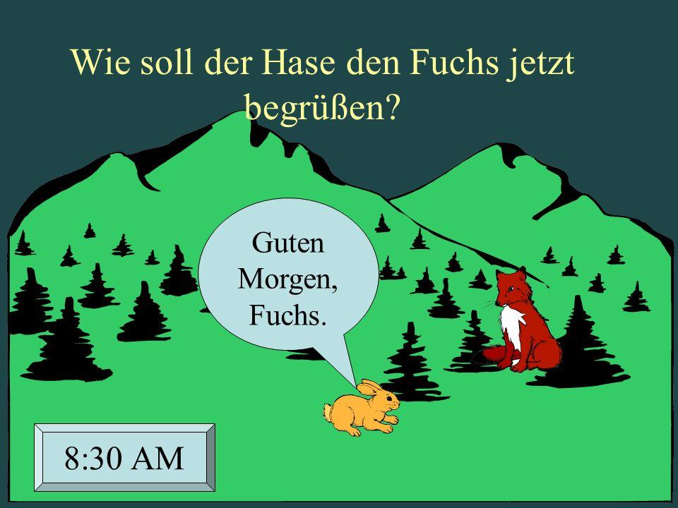 Guten Morgen, Fuchs. 8:30 AM Wie soll der Hase den Fuchs jetzt begrüßen?