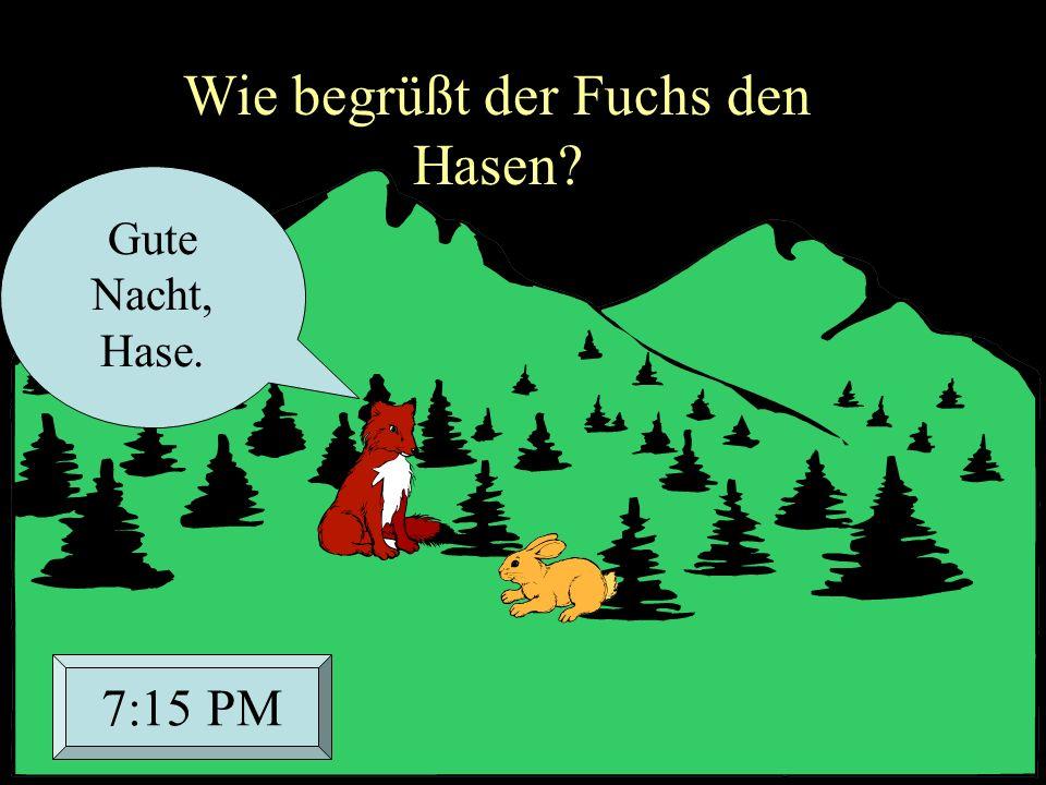 Wie begrüßt der Fuchs den Hasen? Gute Nacht, Hase. 7:15 PM