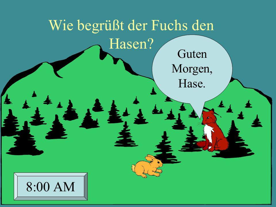 Wie begrüßt der Fuchs den Hasen? Guten Morgen, Hase. 8:00 AM