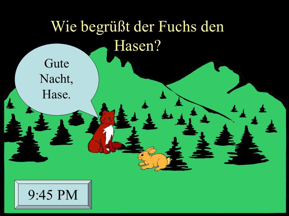Wie begrüßt der Fuchs den Hasen? Gute Nacht, Hase. 9:45 PM