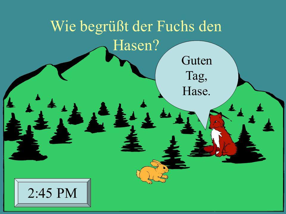 Wie begrüßt der Fuchs den Hasen? Guten Tag, Hase. 2:45 PM