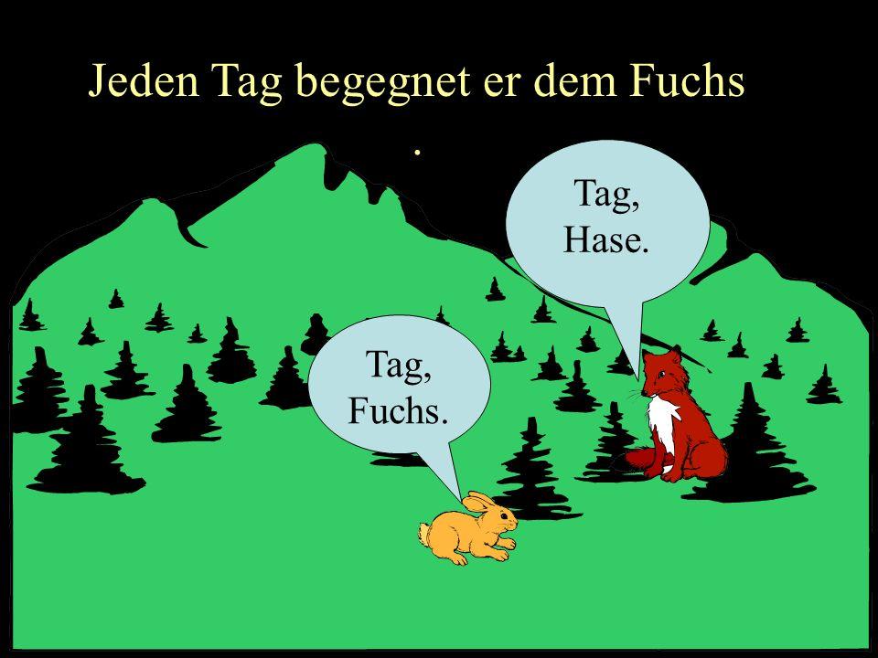 Jeden Tag begegnet er dem Fuchs. Tag, Fuchs. Tag, Hase.