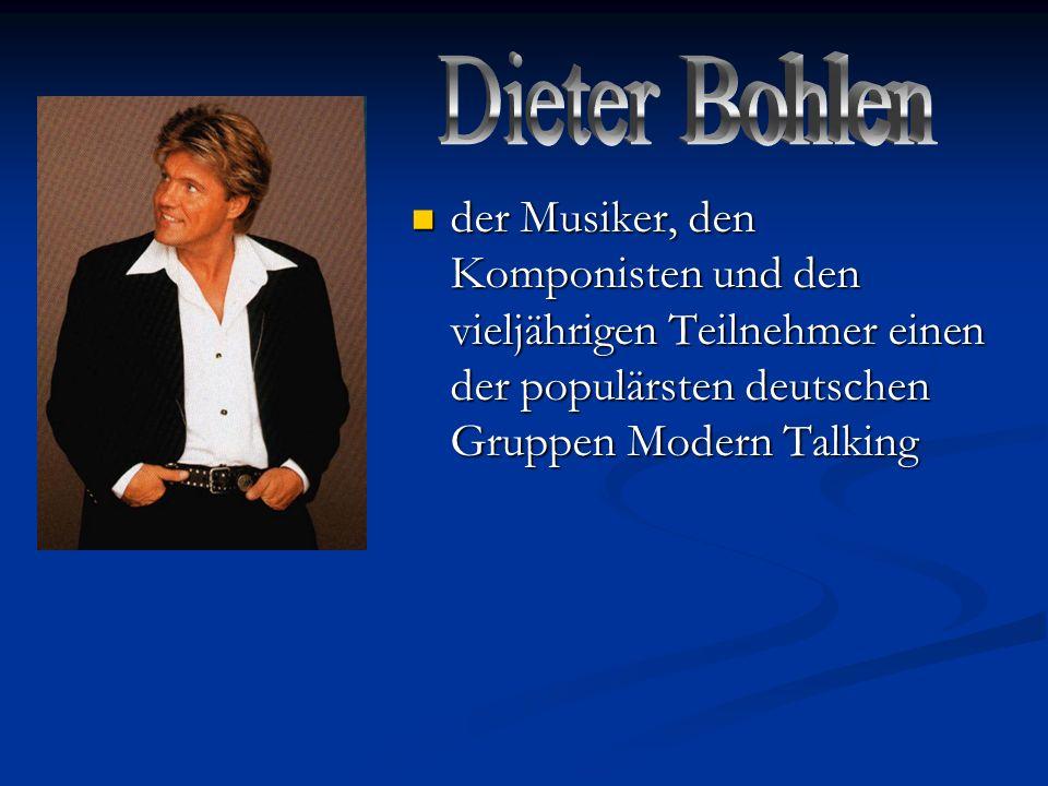 der Musiker, den Komponisten und den vieljährigen Teilnehmer einen der populärsten deutschen Gruppen Modern Talking