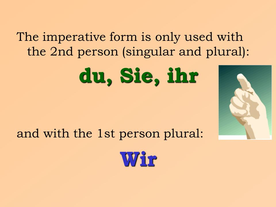 The imperative form is only used with the 2nd person (singular and plural): du, Sie, ihr and with the 1st person plural:Wir