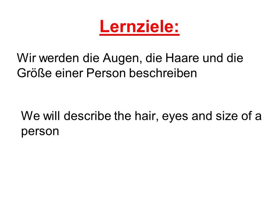 Lernziele: Wir werden die Augen, die Haare und die Größe einer Person beschreiben We will describe the hair, eyes and size of a person