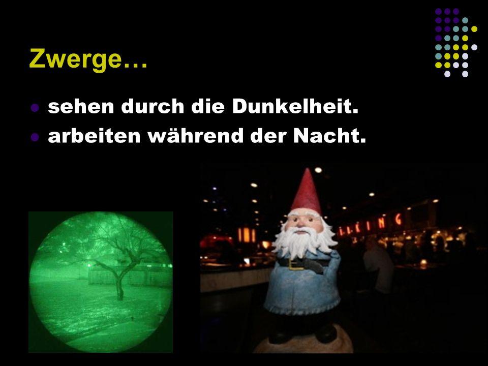 Zwerge… sehen durch die Dunkelheit. arbeiten während der Nacht.