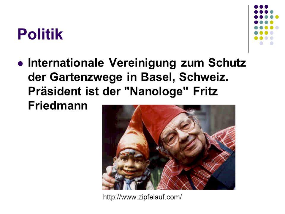 Politik Internationale Vereinigung zum Schutz der Gartenzwege in Basel, Schweiz. Präsident ist der