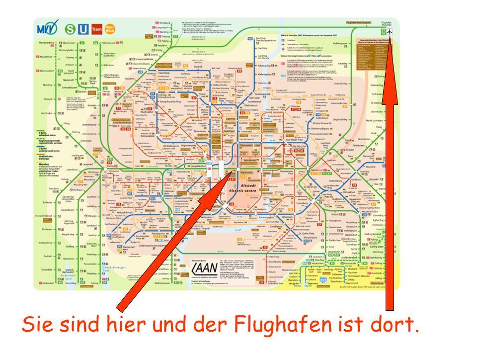 Sie sind hier und der Flughafen ist dort.