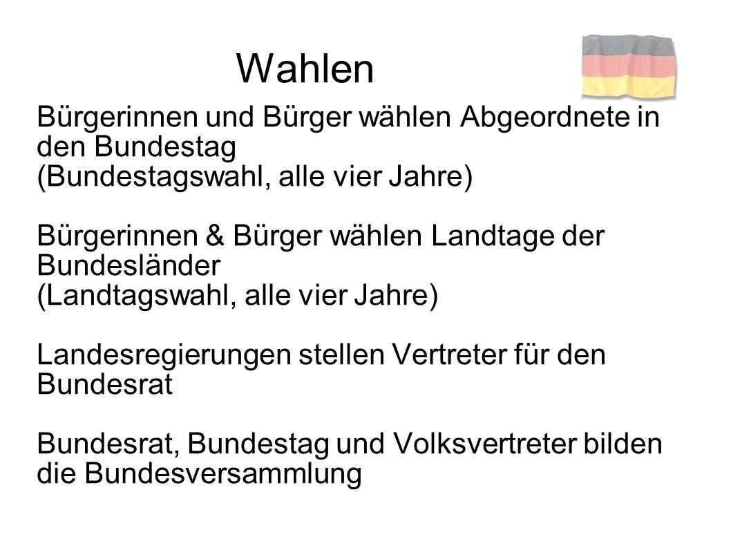 Regierungsbildung Bundesversammlung wählt den Bundes- präsidenten (alle fünf Jahre) Bundespräsident schlägt Bundeskanzler vor Bundestag wählt den Bundeskanzler Bundeskanzler ernennt Bundesminister