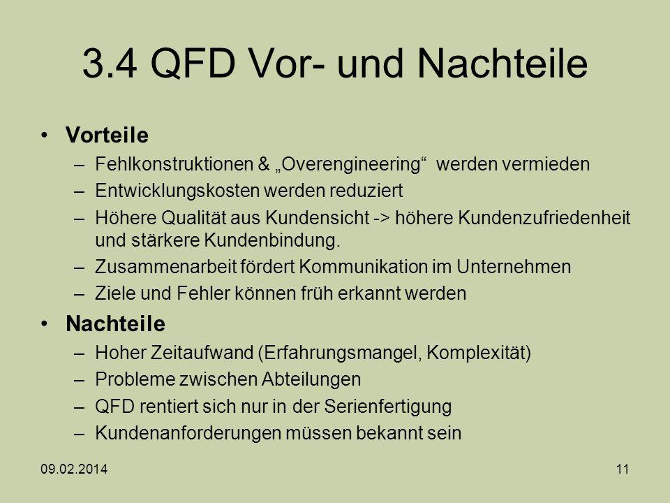3.4 QFD Vor- und Nachteile Vorteile –Fehlkonstruktionen & Overengineering werden vermieden –Entwicklungskosten werden reduziert –Höhere Qualität aus K