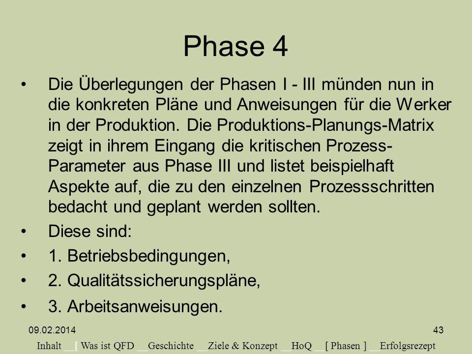 Phase 4 Die Überlegungen der Phasen I - III münden nun in die konkreten Pläne und Anweisungen für die Werker in der Produktion. Die Produktions-Planun