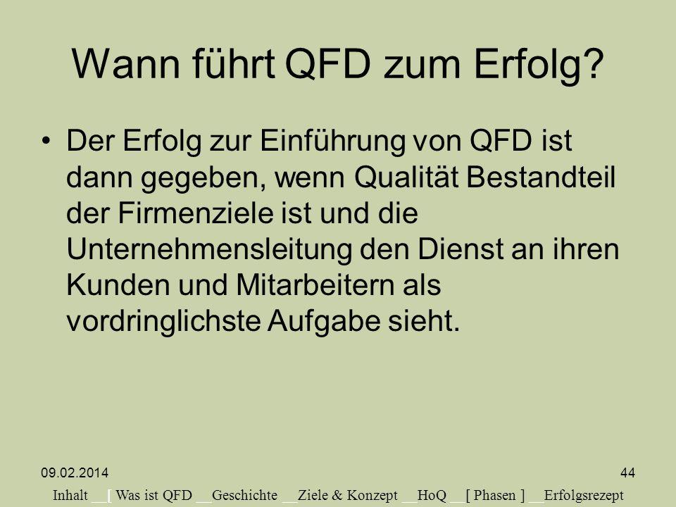 Wann führt QFD zum Erfolg? Der Erfolg zur Einführung von QFD ist dann gegeben, wenn Qualität Bestandteil der Firmenziele ist und die Unternehmensleitu