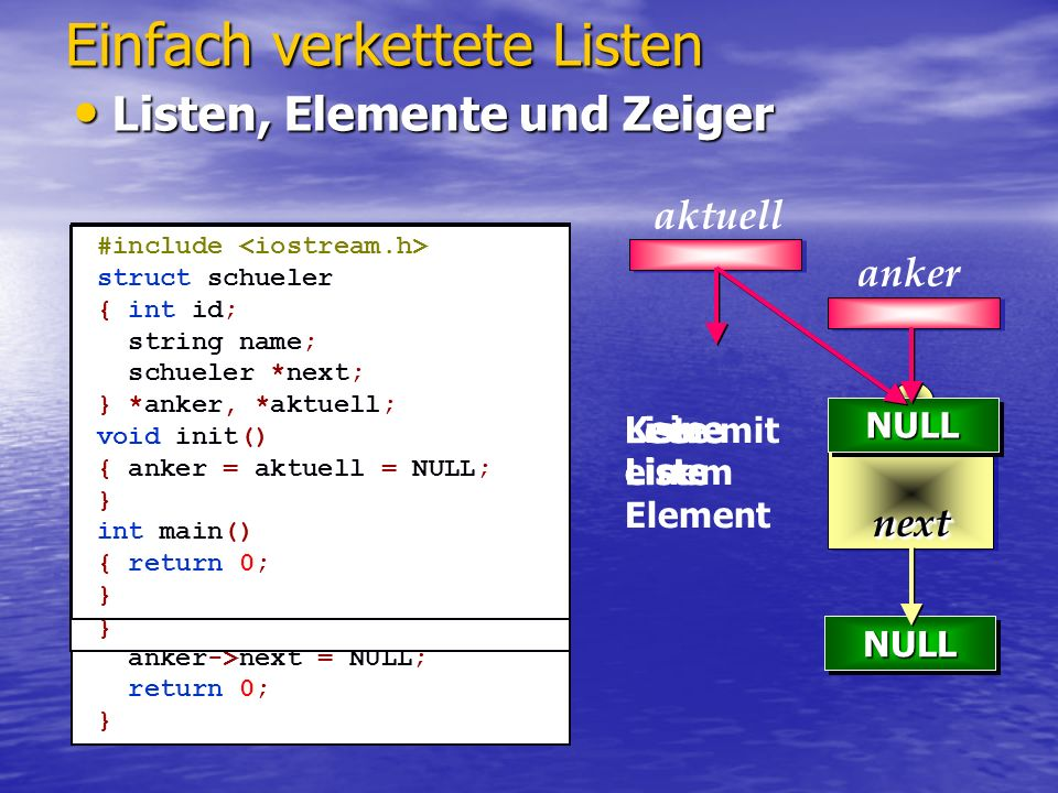 NULLNULL Einfach verkettete Listen Anfügen eines Elementes Anfügen eines Elementes NULLNULL void inc(int idi, string namei) { schueler *hilf = new schueler; hilf->id = idi; hilf->name = namei; } int main() { init(); inc( 1,Peter ); return 0; } aktuell anker void inc(int idi, string namei) { schueler *hilf = new schueler; if(!aktuell) { hilf->next = anker; anker = hilf; } aktuell=hilf; aktuell->id=idi; aktuell->name=namei; } int main() { init(); inc( 1,Peter ); return 0; } 1 hilf