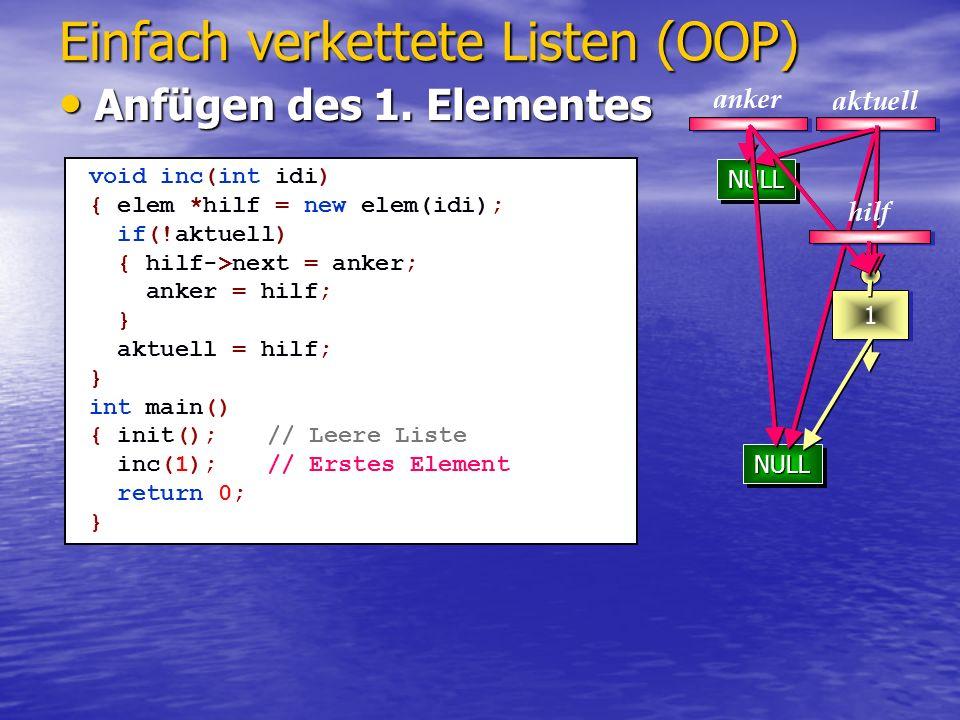 NULLNULL 2 NULLNULL NULLNULL 1 2 Einfach verkettete Listen (OOP) Einfügen neuer Elemente Einfügen neuer Elemente aktuell anker void inc(int idi) { elem *hilf = new elem(idi); if(aktuell) { hilf->next = aktuell->next; aktuell->next = hilf; } else { hilf->next = anker; anker = hilf; } aktuell = hilf; } int main() { init();// Leere Liste inc(1);// Erstes Element inc(2);// Zweites Element return 0; } hilf