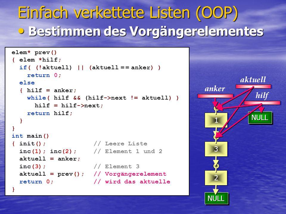 NULLNULL NULLNULL NULLNULL 23 1 Einfach verkettete Listen (OOP) aktuell anker int main() { init();// Leere Liste inc(1); inc(2);// Element 1 und 2 aktuell = anker; inc(3);// Element 3 aktuell = last();// Vorgängerelement aktuell->next = NULL; // !!.