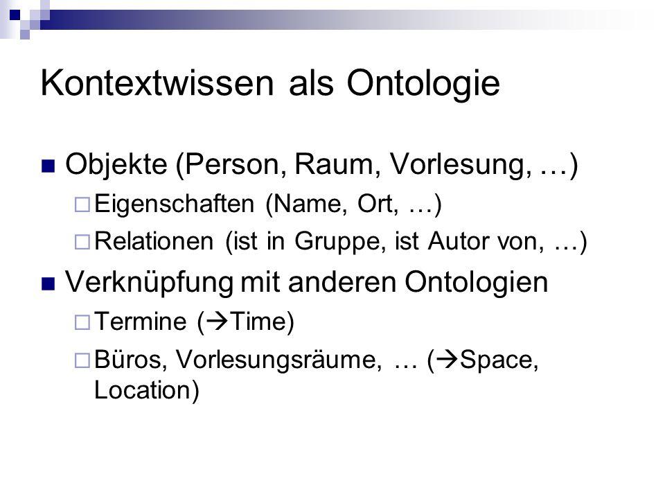 Kontextwissen als Ontologie Objekte (Person, Raum, Vorlesung, …) Eigenschaften (Name, Ort, …) Relationen (ist in Gruppe, ist Autor von, …) Verknüpfung mit anderen Ontologien Termine ( Time) Büros, Vorlesungsräume, … ( Space, Location)
