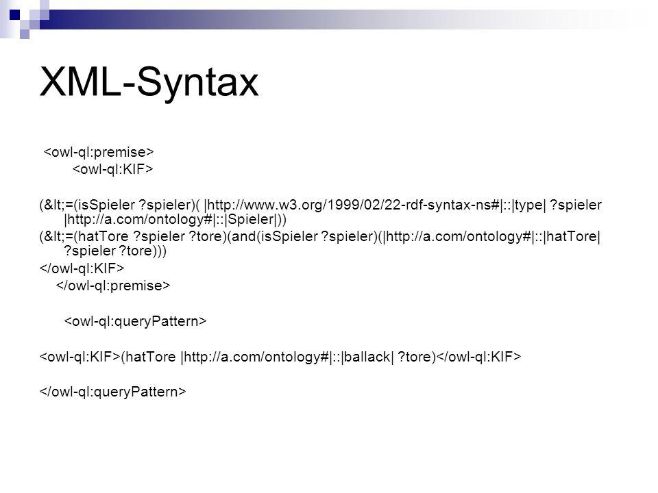 XML-Syntax (<=(isSpieler spieler)( |http://www.w3.org/1999/02/22-rdf-syntax-ns#|::|type| spieler |http://a.com/ontology#|::|Spieler|)) (<=(hatTore spieler tore)(and(isSpieler spieler)(|http://a.com/ontology#|::|hatTore| spieler tore))) (hatTore |http://a.com/ontology#|::|ballack| tore)
