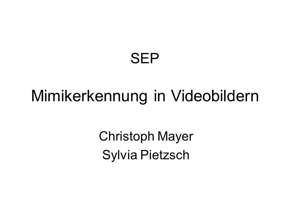 SEP Mimikerkennung in Videobildern Christoph Mayer Sylvia Pietzsch