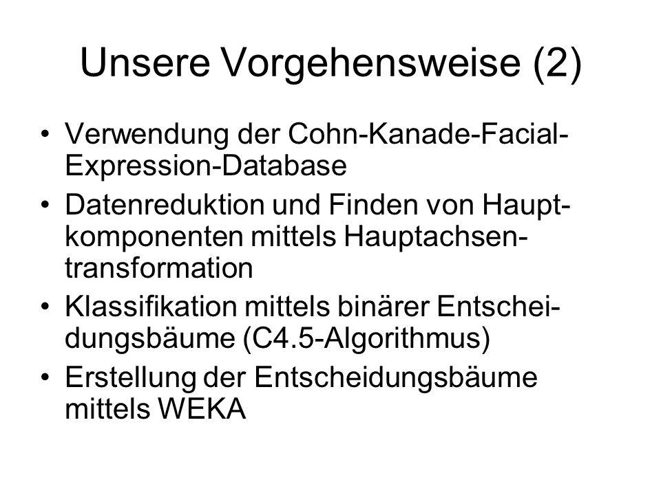 Unsere Vorgehensweise (2) Verwendung der Cohn-Kanade-Facial- Expression-Database Datenreduktion und Finden von Haupt- komponenten mittels Hauptachsen-