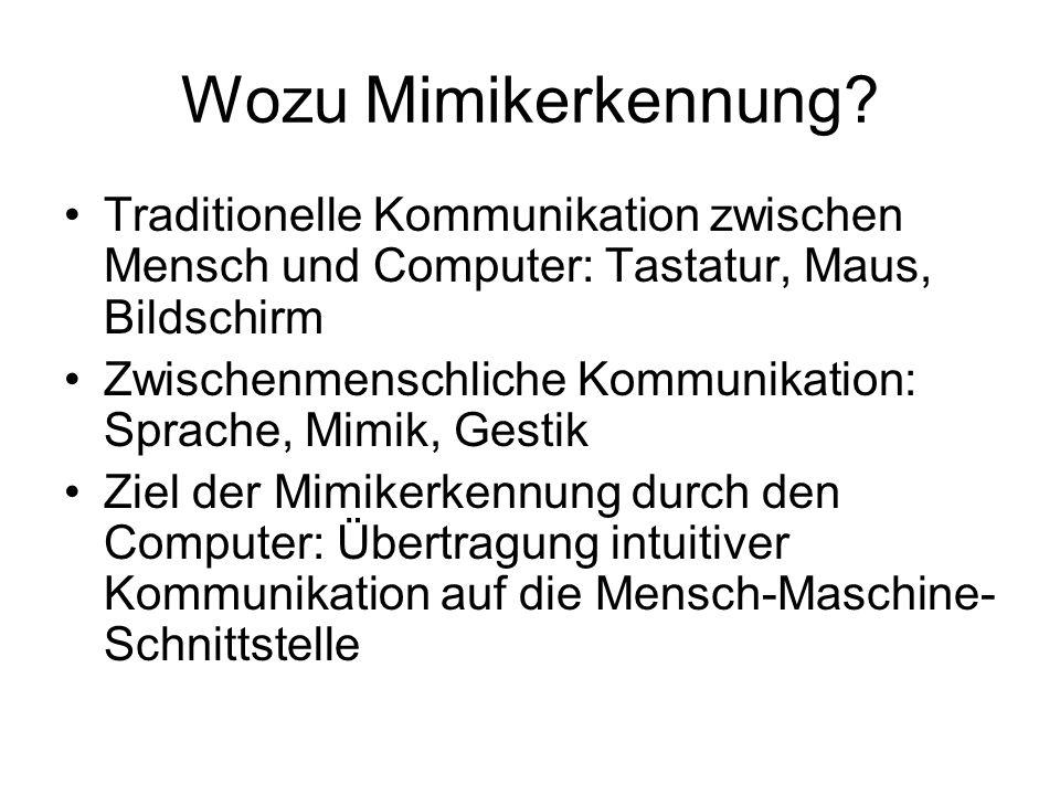 Wozu Mimikerkennung? Traditionelle Kommunikation zwischen Mensch und Computer: Tastatur, Maus, Bildschirm Zwischenmenschliche Kommunikation: Sprache,