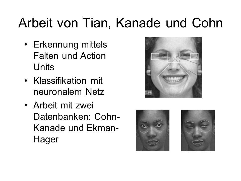 Arbeit von Tian, Kanade und Cohn Erkennung mittels Falten und Action Units Klassifikation mit neuronalem Netz Arbeit mit zwei Datenbanken: Cohn- Kanad