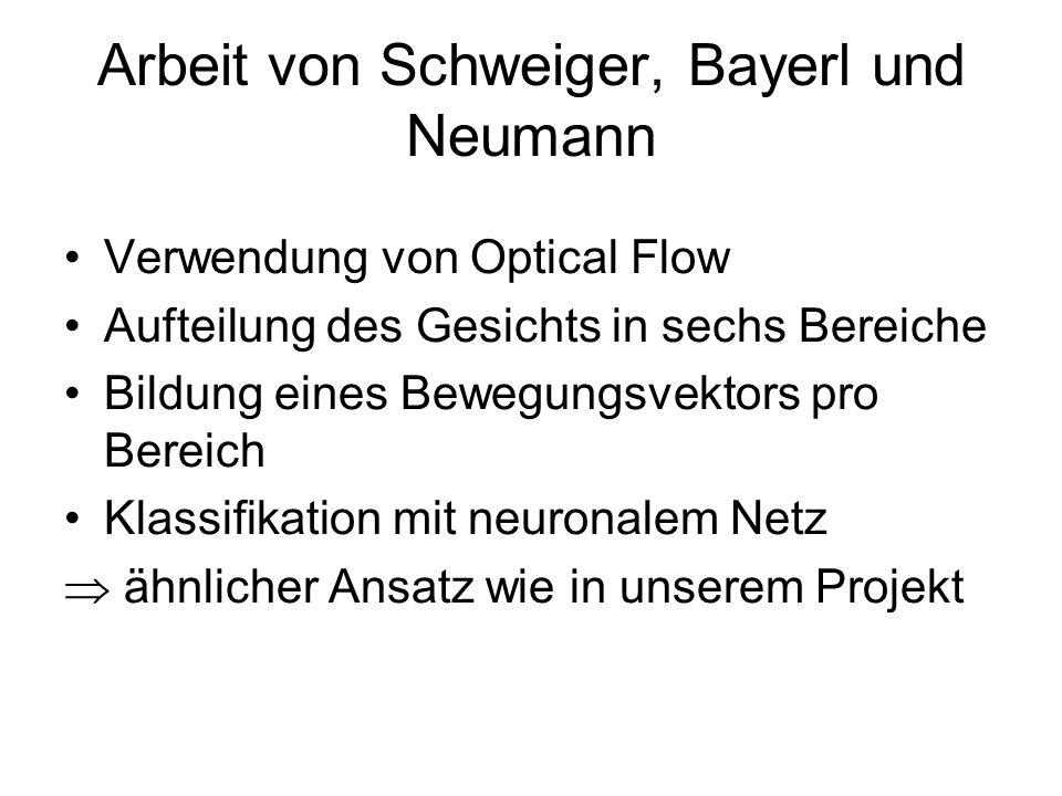 Arbeit von Schweiger, Bayerl und Neumann Verwendung von Optical Flow Aufteilung des Gesichts in sechs Bereiche Bildung eines Bewegungsvektors pro Bere