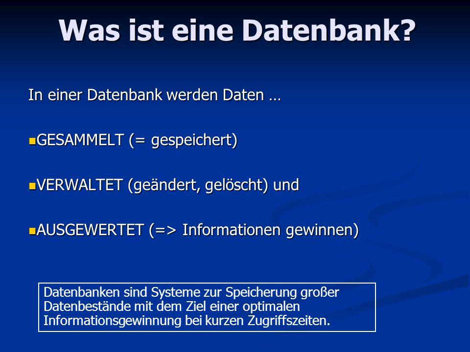 Was ist eine Datenbank? In einer Datenbank werden Daten … GESAMMELT (= gespeichert) GESAMMELT (= gespeichert) VERWALTET (geändert, gelöscht) und VERWA