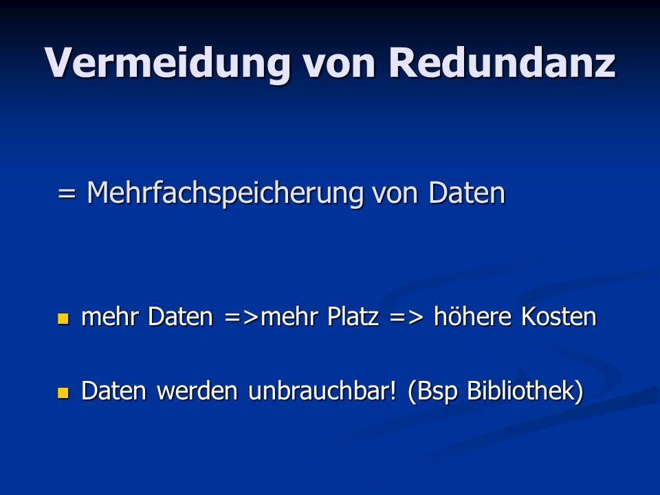 Schlüsselfelder jede Tabelle (Relation) braucht ein Schlüsselfeld jede Tabelle (Relation) braucht ein Schlüsselfeld Es handelt sich um ein eindeutiges Kriterium einer Tabelle (z.B.