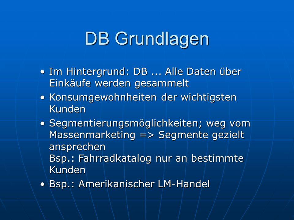 DB Grundlagen Im Hintergrund: DB...Alle Daten über Einkäufe werden gesammeltIm Hintergrund: DB...