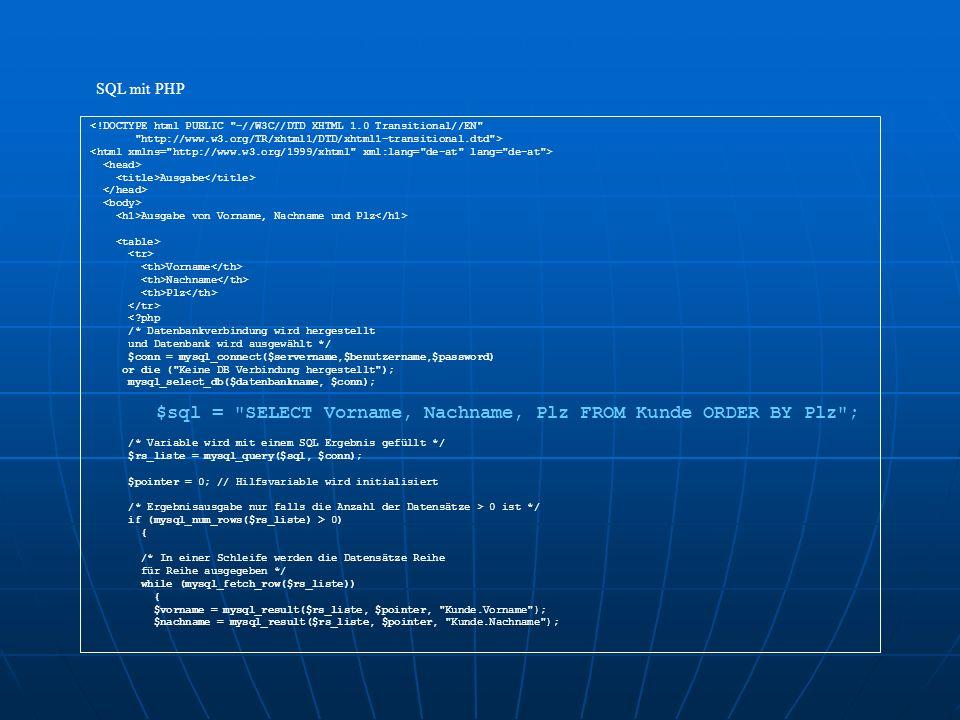 <!DOCTYPE html PUBLIC -//W3C//DTD XHTML 1.0 Transitional//EN http://www.w3.org/TR/xhtml1/DTD/xhtml1-transitional.dtd > Ausgabe Ausgabe von Vorname, Nachname und Plz Vorname Nachname Plz <?php /* Datenbankverbindung wird hergestellt und Datenbank wird ausgewählt */ $conn = mysql_connect($servername,$benutzername,$password) or die ( Keine DB Verbindung hergestellt ); mysql_select_db($datenbankname, $conn); $sql = SELECT Vorname, Nachname, Plz FROM Kunde ORDER BY Plz ; /* Variable wird mit einem SQL Ergebnis gefüllt */ $rs_liste = mysql_query($sql, $conn); $pointer = 0; // Hilfsvariable wird initialisiert /* Ergebnisausgabe nur falls die Anzahl der Datensätze > 0 ist */ if (mysql_num_rows($rs_liste) > 0) { /* In einer Schleife werden die Datensätze Reihe für Reihe ausgegeben */ while (mysql_fetch_row($rs_liste)) { $vorname = mysql_result($rs_liste, $pointer, Kunde.Vorname ); $nachname = mysql_result($rs_liste, $pointer, Kunde.Nachname ); SQL mit PHP