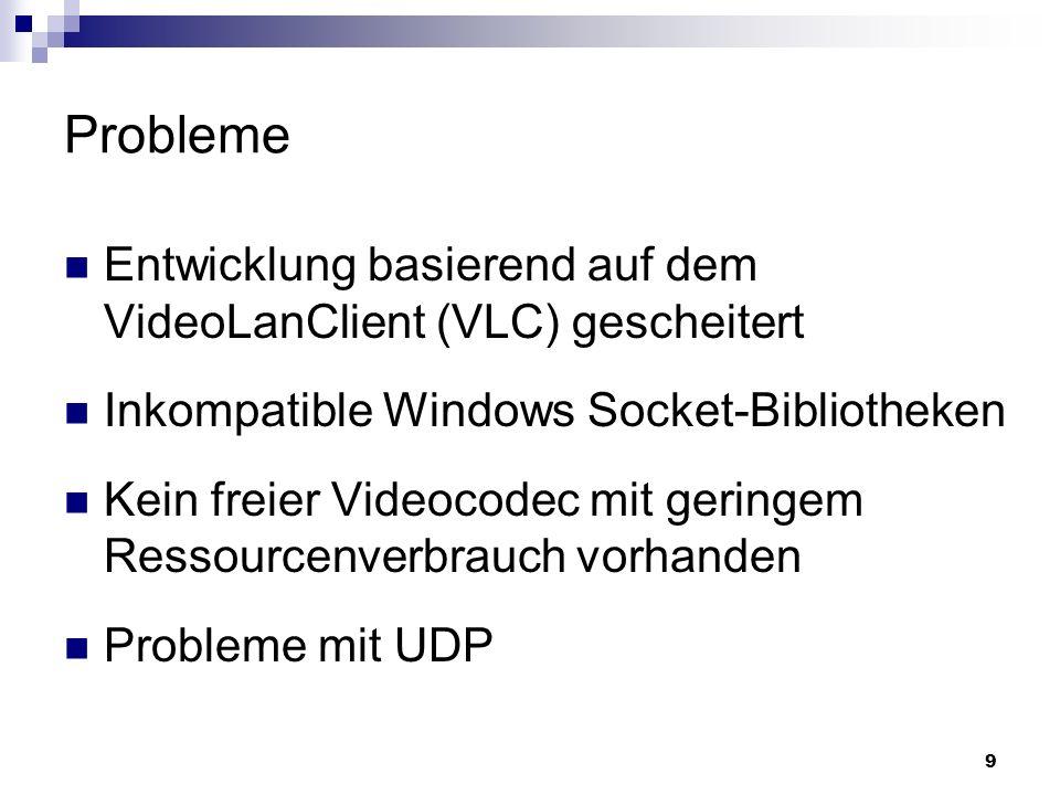 9 Probleme Entwicklung basierend auf dem VideoLanClient (VLC) gescheitert Inkompatible Windows Socket-Bibliotheken Kein freier Videocodec mit geringem Ressourcenverbrauch vorhanden Probleme mit UDP