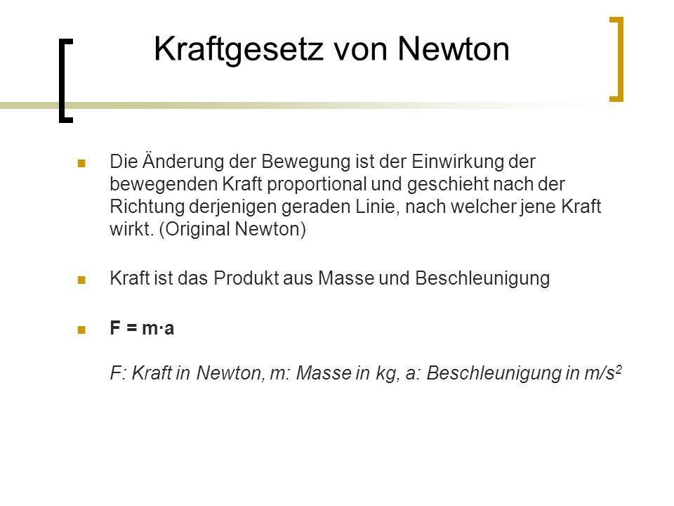 Kraftgesetz von Newton Die Änderung der Bewegung ist der Einwirkung der bewegenden Kraft proportional und geschieht nach der Richtung derjenigen geraden Linie, nach welcher jene Kraft wirkt.