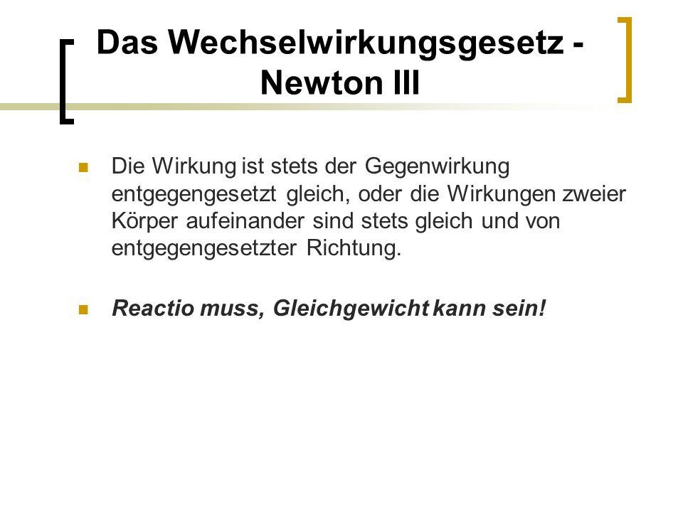 Das Wechselwirkungsgesetz - Newton III Die Wirkung ist stets der Gegenwirkung entgegengesetzt gleich, oder die Wirkungen zweier Körper aufeinander sind stets gleich und von entgegengesetzter Richtung.