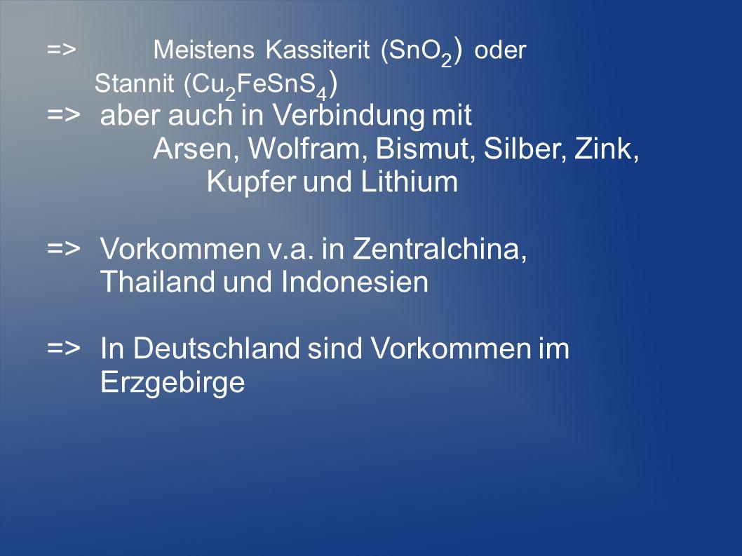 =>Meistens Kassiterit (SnO 2 ) oder Stannit (Cu 2 FeSnS 4 ) =>aber auch in Verbindung mit Arsen, Wolfram, Bismut, Silber, Zink, Kupfer und Lithium =>V