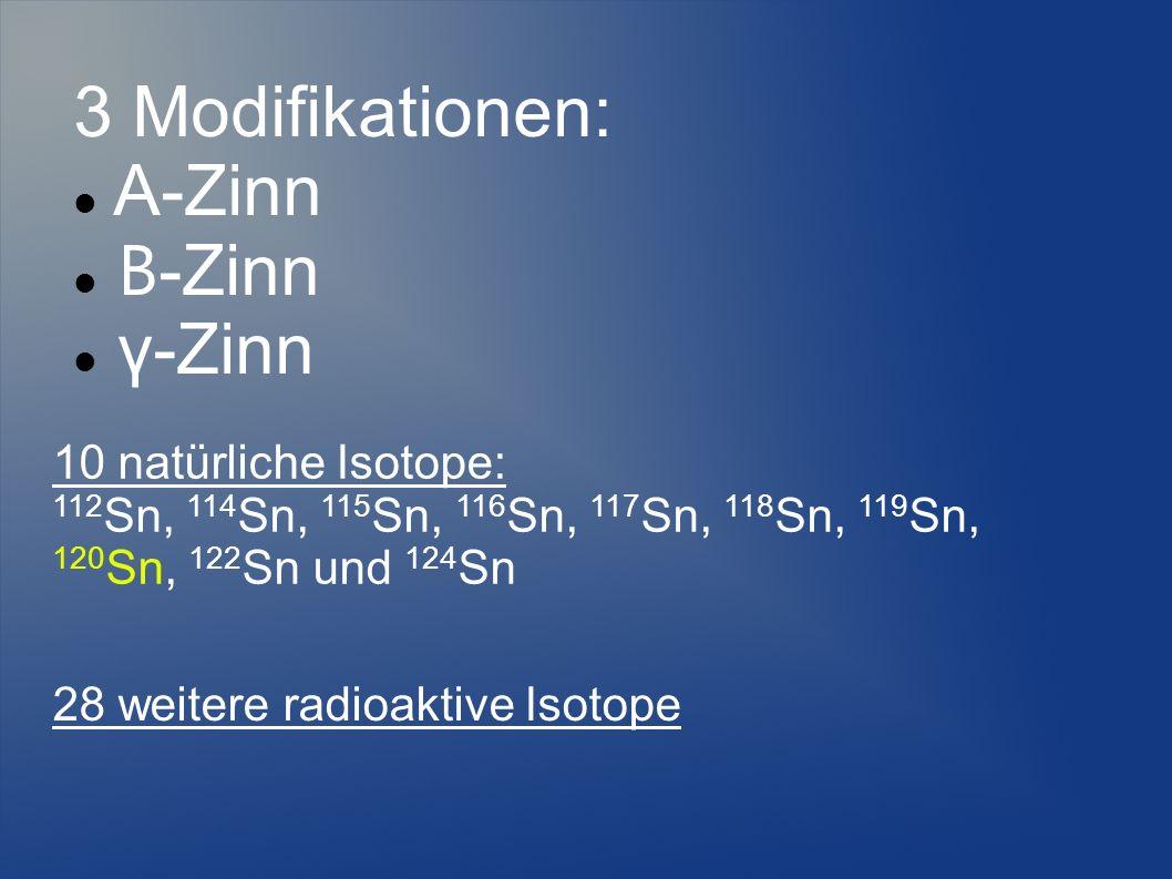 3 Modifikationen: Α-Zinn Β -Zinn γ-Zinn 10 natürliche Isotope: 112 Sn, 114 Sn, 115 Sn, 116 Sn, 117 Sn, 118 Sn, 119 Sn, 120 Sn, 122 Sn und 124 Sn 28 we