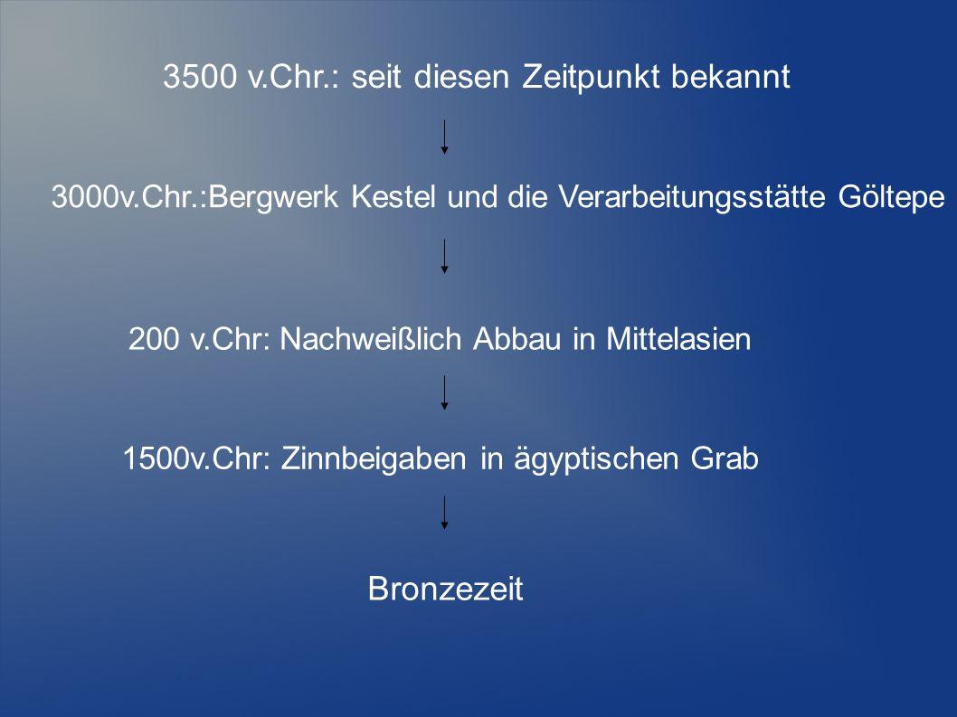 3500 v.Chr.: seit diesen Zeitpunkt bekannt 3000v.Chr.:Bergwerk Kestel und die Verarbeitungsstätte Göltepe 200 v.Chr: Nachweißlich Abbau in Mittelasien