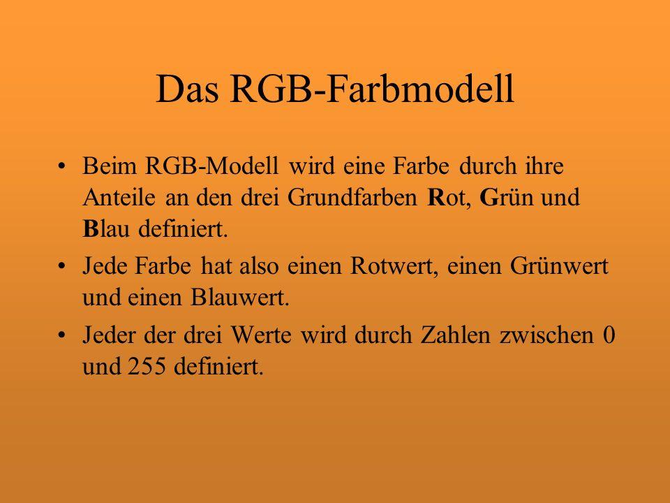 Das RGB-Farbmodell Beim RGB-Modell wird eine Farbe durch ihre Anteile an den drei Grundfarben Rot, Grün und Blau definiert. Jede Farbe hat also einen