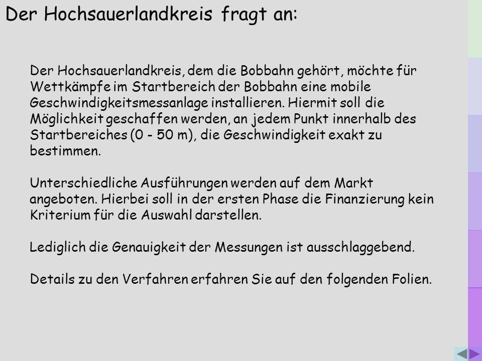 Der Hochsauerlandkreis fragt an: Der Hochsauerlandkreis, dem die Bobbahn gehört, möchte für Wettkämpfe im Startbereich der Bobbahn eine mobile Geschwi