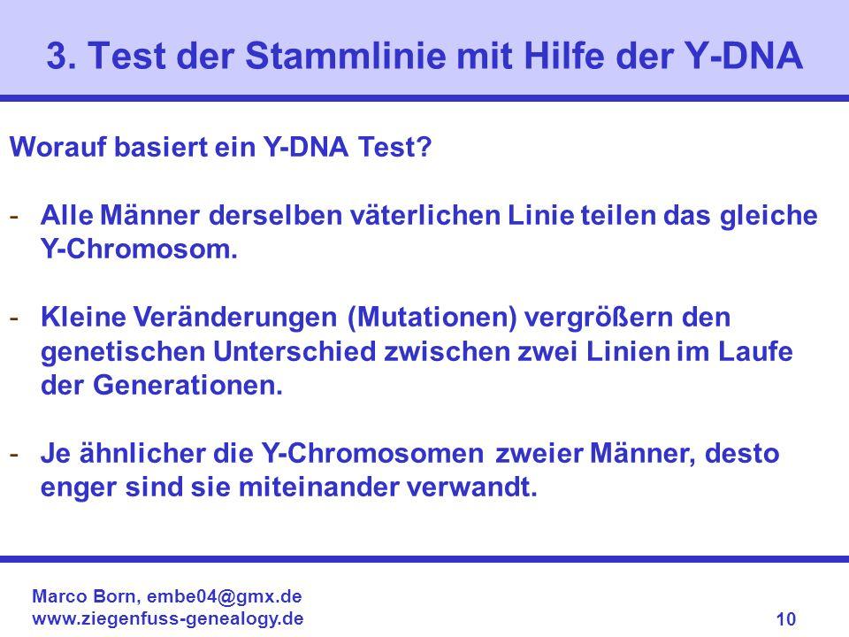 Marco Born, embe04@gmx.de www.ziegenfuss-genealogy.de 10 Worauf basiert ein Y-DNA Test? -Alle Männer derselben väterlichen Linie teilen das gleiche Y-