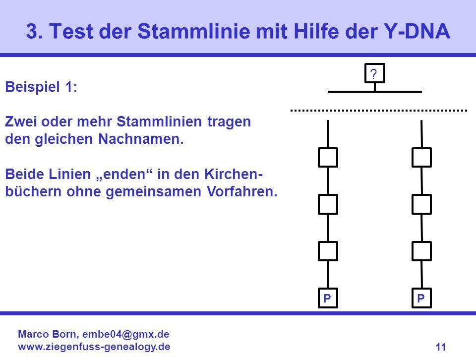 Marco Born, embe04@gmx.de www.ziegenfuss-genealogy.de 11 3. Test der Stammlinie mit Hilfe der Y-DNA ? Beispiel 1: Zwei oder mehr Stammlinien tragen de