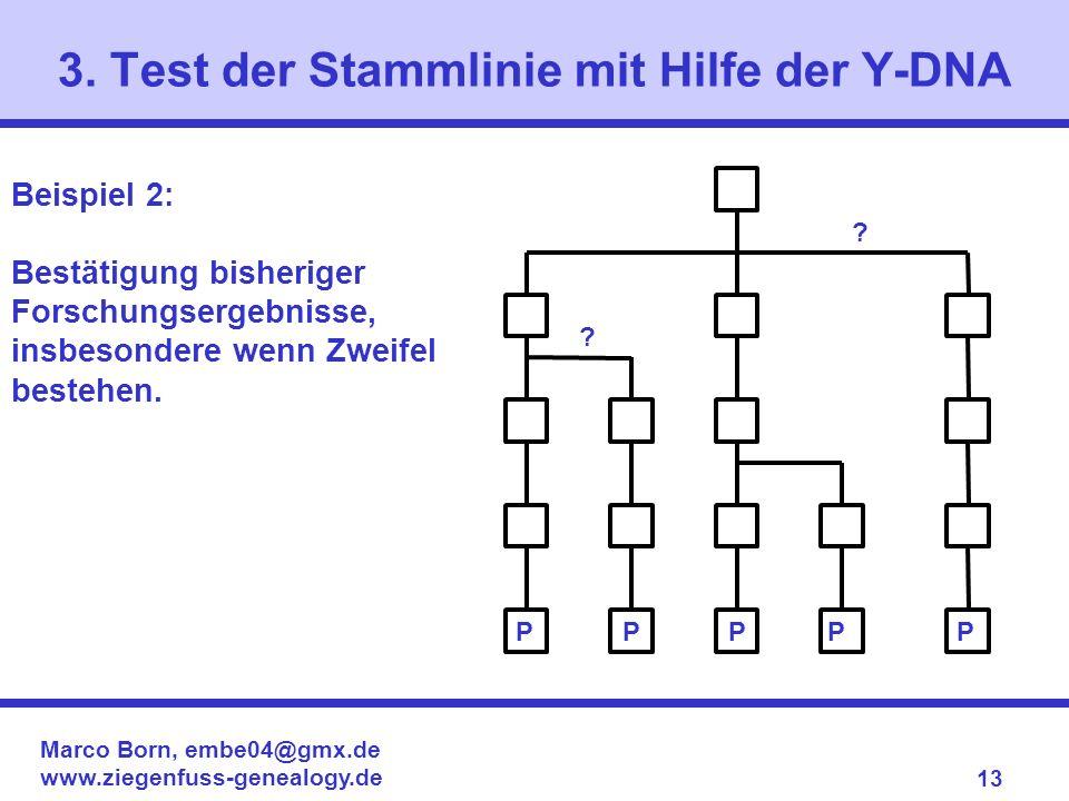 Marco Born, embe04@gmx.de www.ziegenfuss-genealogy.de 13 3. Test der Stammlinie mit Hilfe der Y-DNA Beispiel 2: Bestätigung bisheriger Forschungsergeb